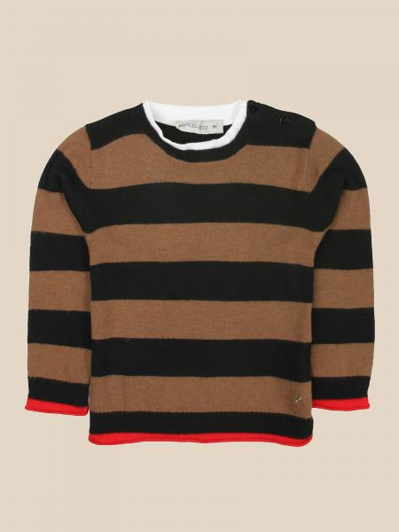 Manuel Ritz crew neck sweater with two-tone bands