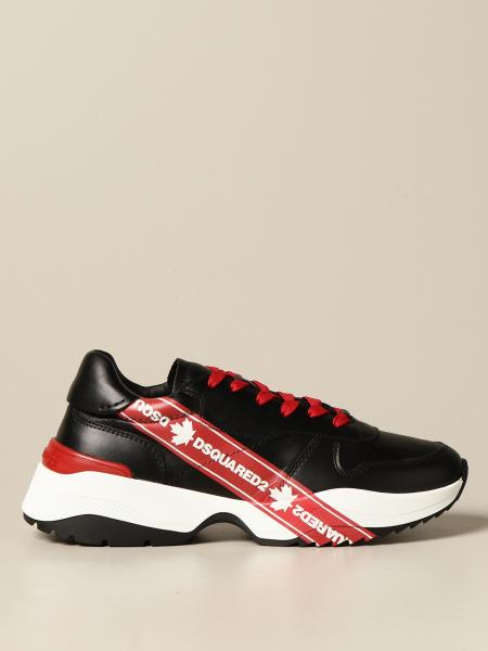 Dsquared2 sneakers in leather with logo print