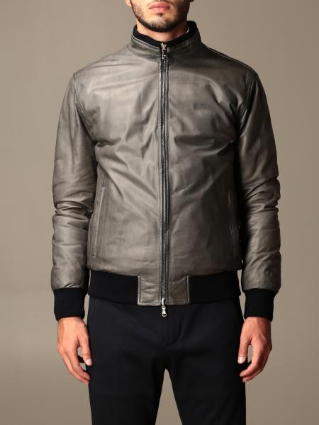 Barba Napoli: Barba Napoli leather bomber jacket with zip