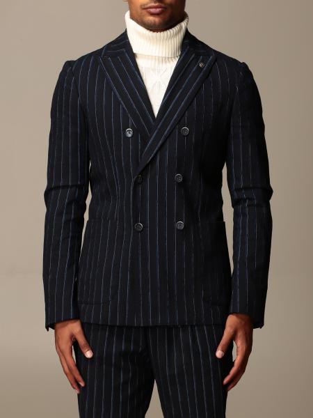 Havana & Co.: Havana & Co. double-breasted jacket in pinstripe cotton blend