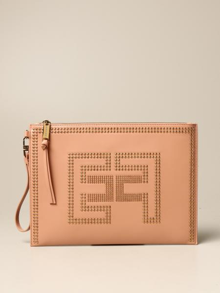 Elisabetta Franchi clutch bag in synthetic leather with studs