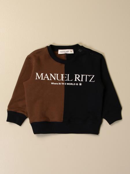 Manuel Ritz two-tone crewneck sweatshirt with logo