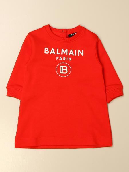 Balmain: Balmain crewneck dress with logo