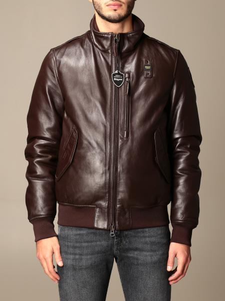 Blauer leather jacket with zip and logo