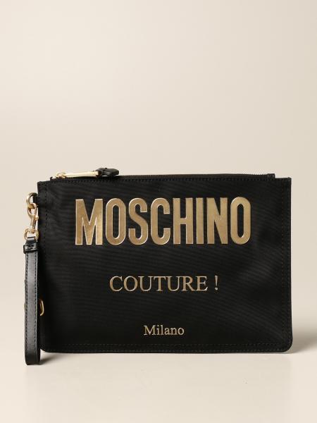 Pochette Moschino Couture in tela tecnica con logo