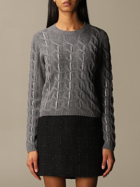 Blumarine: Blumarine crewneck sweater in cable-knit wool