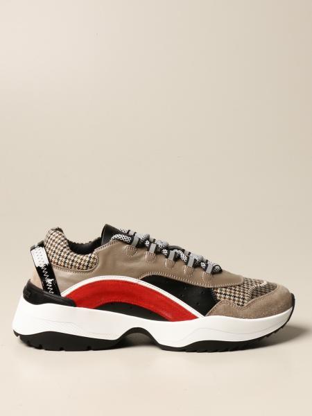 Sneakers Dsquared2 in pelle camoscio e tessuto