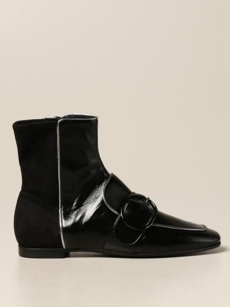 Scarpa flat Emporio Armani in pelle lucida e camoscio