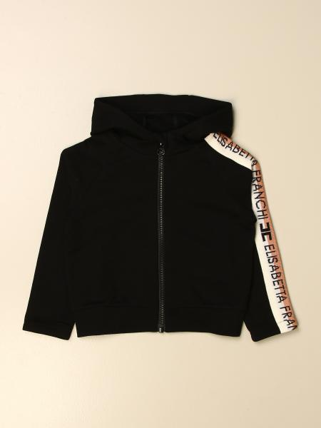 Elisabetta Franchi hooded sweatshirt with striped bands and logo
