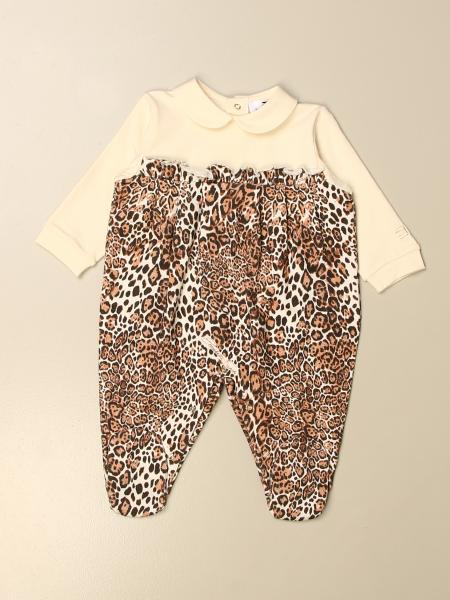 Elisabetta Franchi kids: Elisabetta Franchi footed jumpsuit with animalier pattern