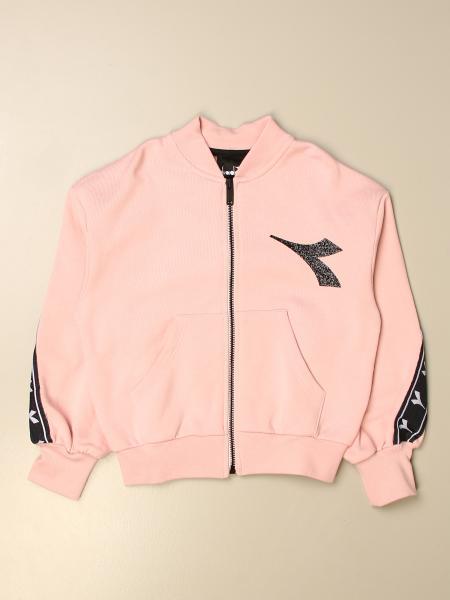 Diadora sweatshirt with zip and logoed band
