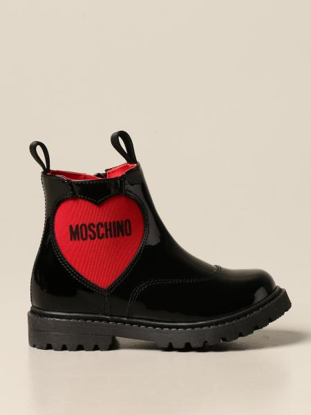 Moschino Baby boot in patent leather with heart