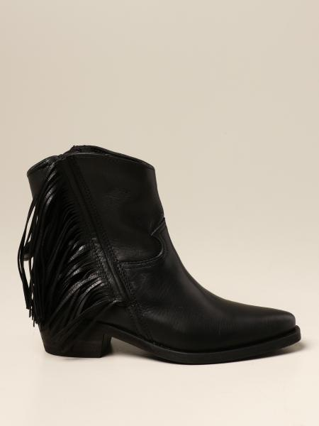 Cinzia Araia ankle boot in leather with fringes