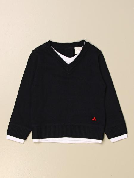 Peuterey kids: Peuterey v-neck sweater in wool blend with logo