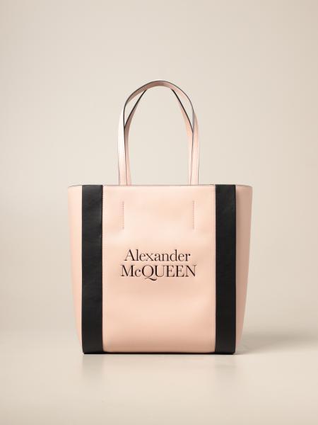 Alexander Mcqueen: Borsa a spalla Alexander McQueen in pelle con logo