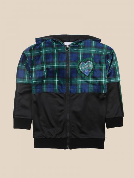 Paciotti zip sweatshirt in tartan with heart