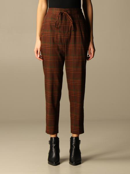 Pantalone a vita alta Pt in tartan