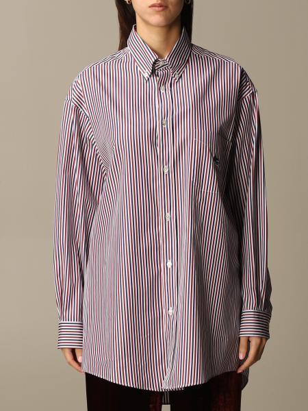 Etro: Etro oversized shirt in striped cotton