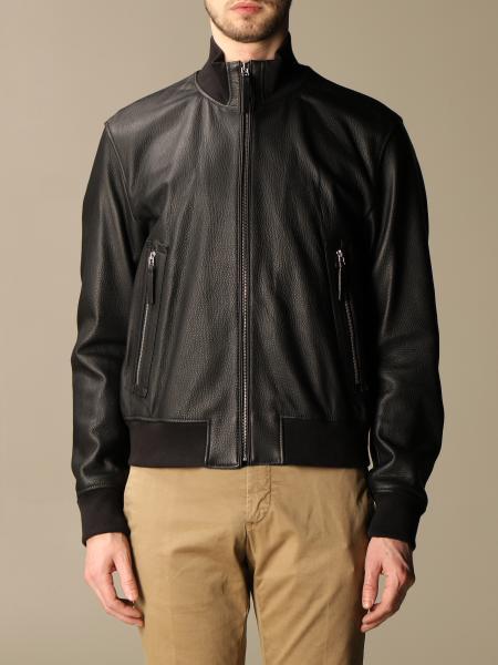 Hugo Boss: Boss leather bomber jacket with zip