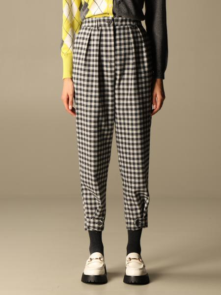 Semicouture: High-waisted Semicouture checked trousers