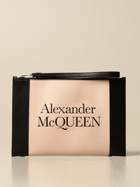 Alexander Mcqueen: Pochette da polso Alexander McQueen in pelle con logo