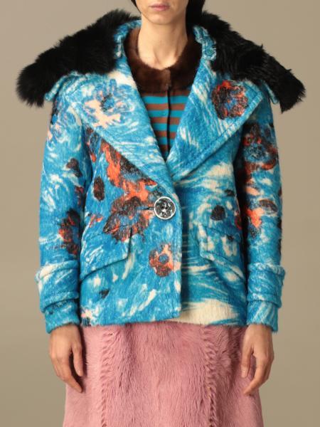 Cappotto Prada in lana e alpaca con stampa