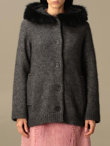 Prada knitted coat in wool and alpaca