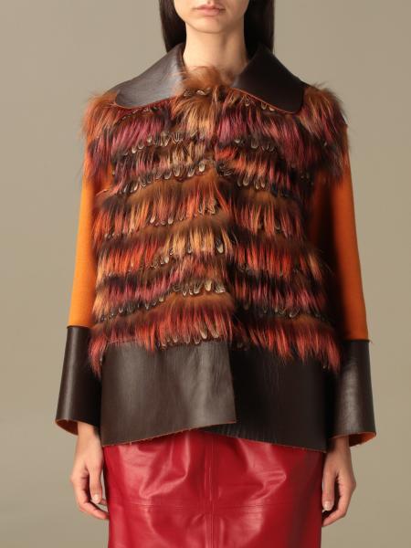 Giacca Alberta Ferretti con pelliccia e piume