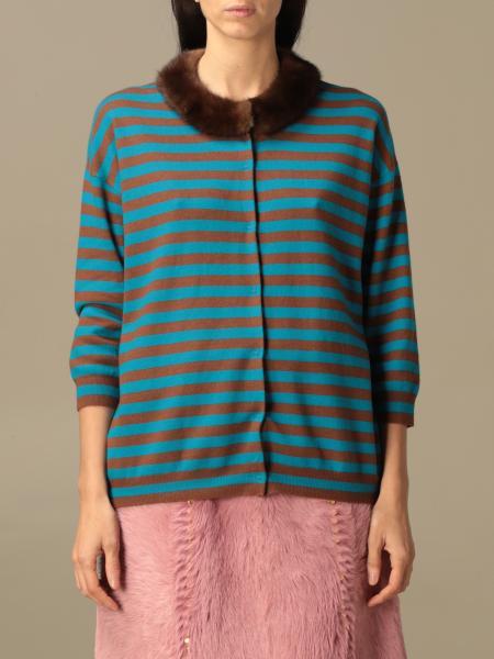 Cardigan Prada in lana vergine a righe con collo di visone