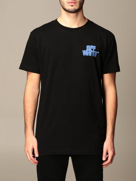 Off White men: Off White cotton t-shirt with back print