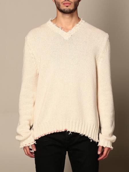 Maison Margiela: Maison Margiela v-neck sweater with tears