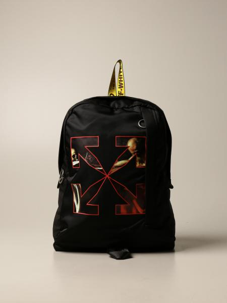 Off White men: Caravaggio Off White backpack in technical fabric with print