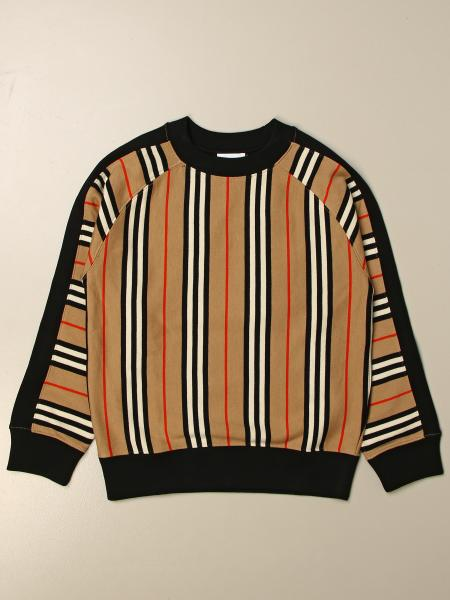 Burberry kids: Burberry crewneck sweatshirt in vntage striped cotton