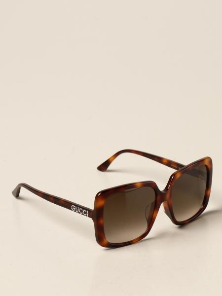 Gucci acetate sunglasses with rhinestone logo