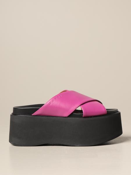 Marni: Sandalo con zeppa Marni in pelle