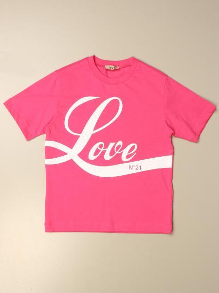 "N°21 棉质汗布T恤,印有""爱""字样"