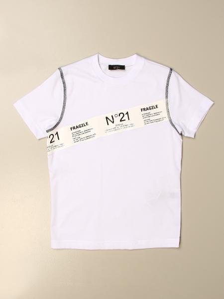 T-shirt N° 21 in cotone con banda logata