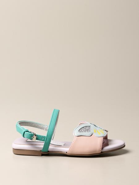 Stella Mccartney kids: Stella McCartney leather sandal with butterfly