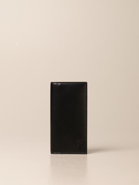 Saint Laurent men: Saint Laurent wallet in leather with monogram