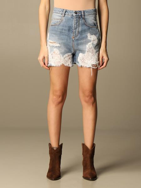 Ermanno Scervino: Ermanno Scervino denim shorts with embroidery
