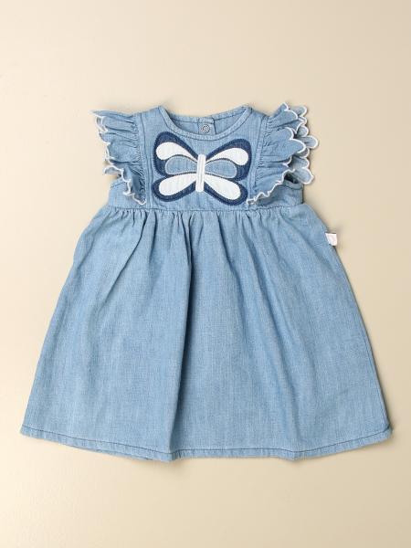Stella Mccartney kids: Stella McCartney short denim dress with butterfly