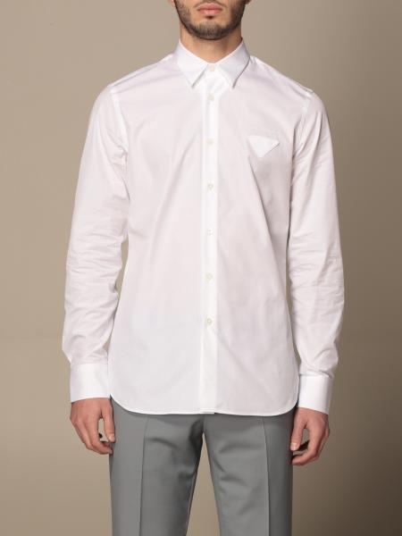 Prada uomo: Camicia Prada in popeline di cotone con logo