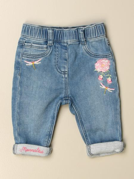 Monnalisa jogging jeans in denim with floral embroidery