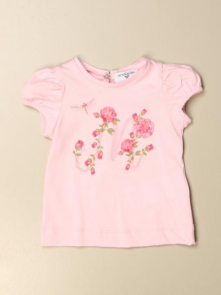 Monnalisa cotton t-shirt with floral logo