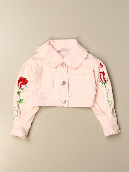 Monnalisa cropped denim jacket with roses