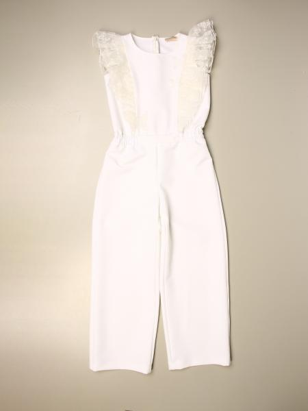 Monnalisa long jumpsuit with tulle rouches and butterflies