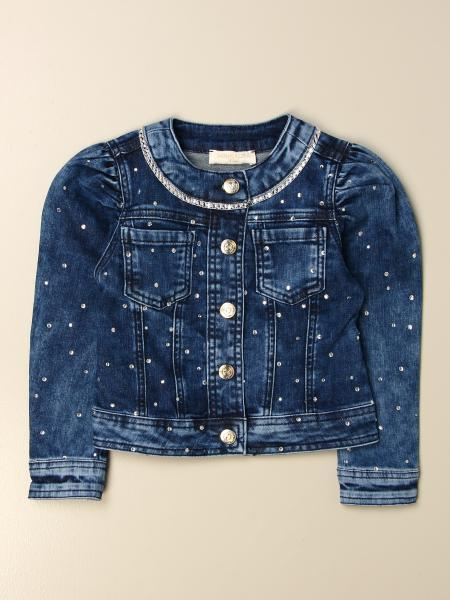 Monnalisa denim jacket with all over rhinestones