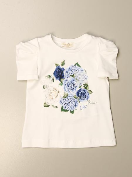 Monnalisa bambino: T-shirt Monnalisa in cotone con stampa floreale