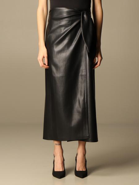 Nanushka: Nanushka long skirt in leather with knot