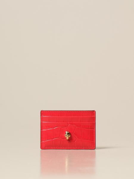 Alexander Mcqueen: Porta carte di credito Alexander McQueen in pelle con stampa cocco